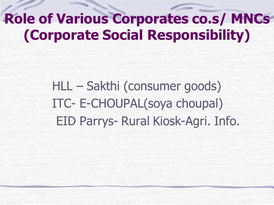 HLL – Sakthi (consumer goods) ITC- E-CHOUPAL(soya choupal) EID Parrys- Rural Kiosk-Agri.
