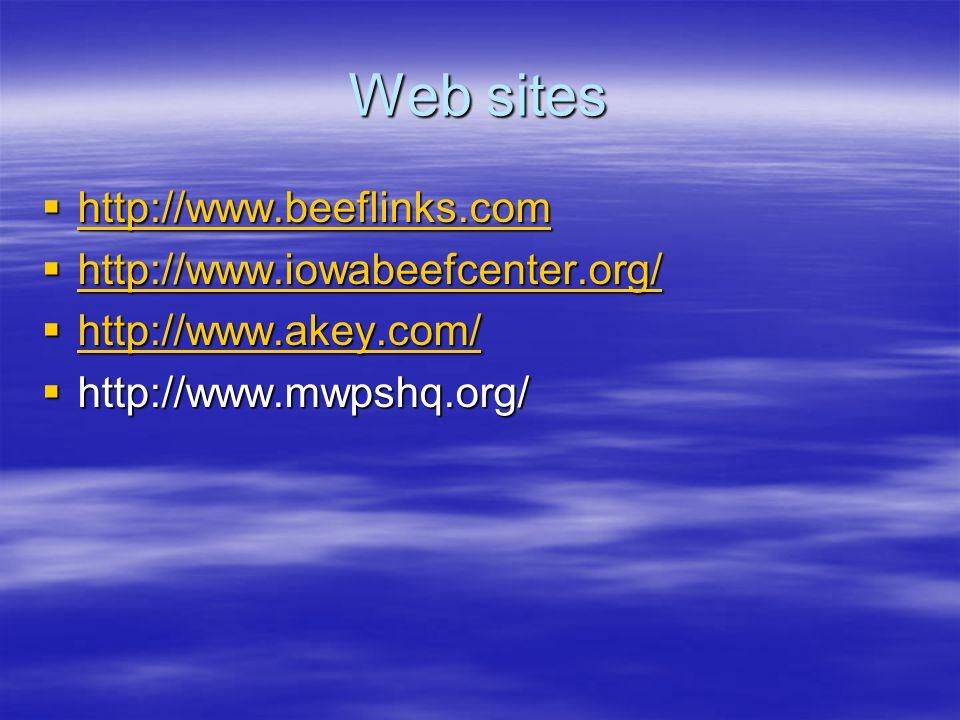 Web sites  http://www.beeflinks.com http://www.beeflinks.com  http://www.iowabeefcenter.org/ http://www.iowabeefcenter.org/  http://www.akey.com/ h