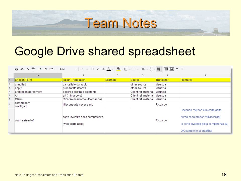 18 Team Notes Google Drive shared spreadsheet Note-Taking for Translators and Translation Editors
