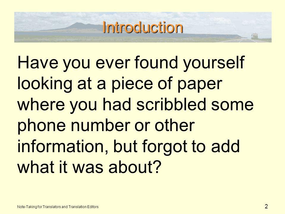 3 Introduction Note-Taking for Translators and Translation Editors