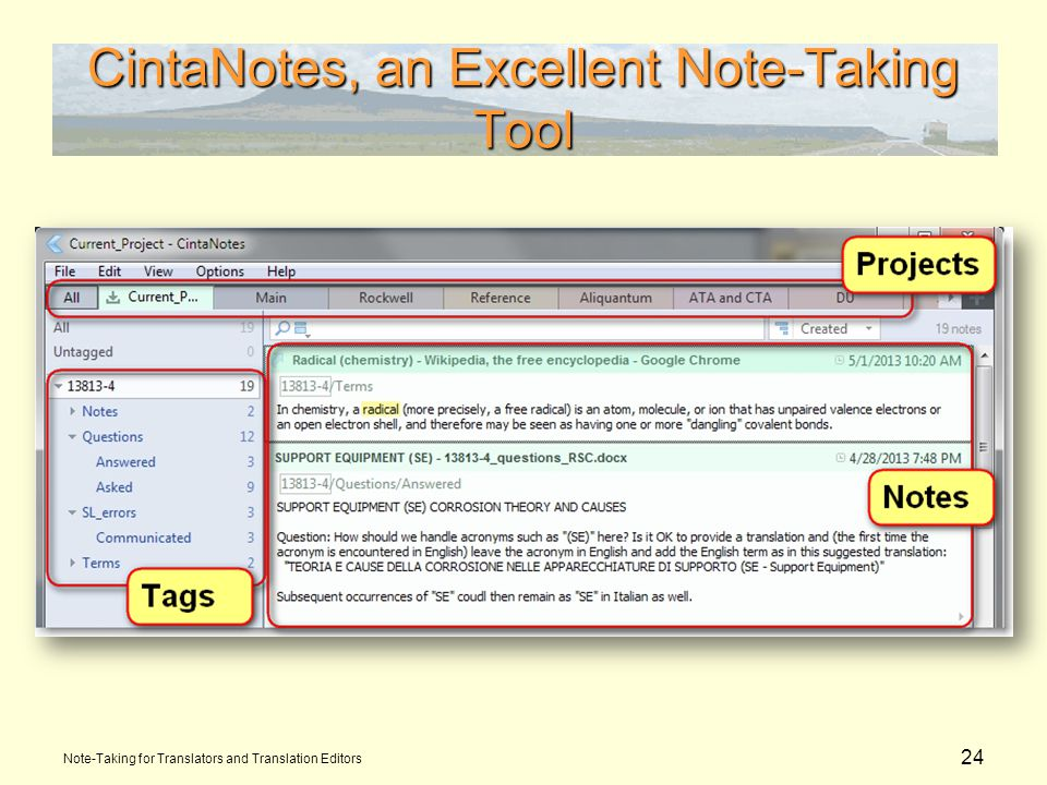 24 CintaNotes, an Excellent Note-Taking Tool Note-Taking for Translators and Translation Editors