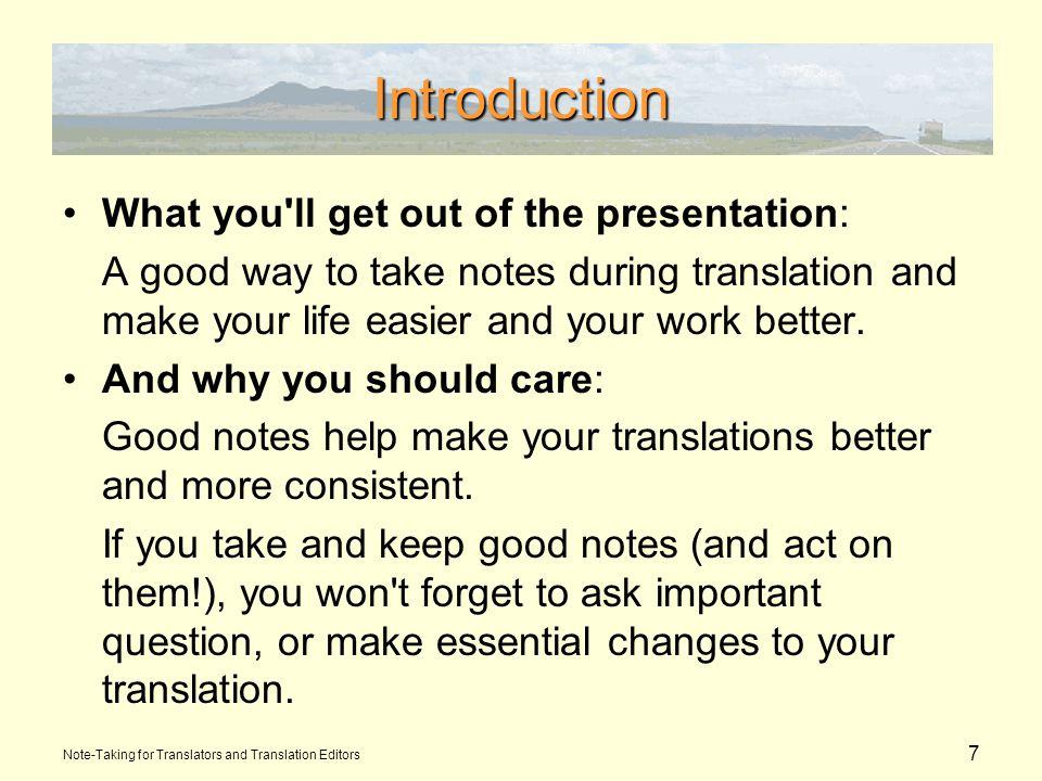 18 Team Notes Google Drive shared spreadsheet Note-Taking for Translators and Translation Editors