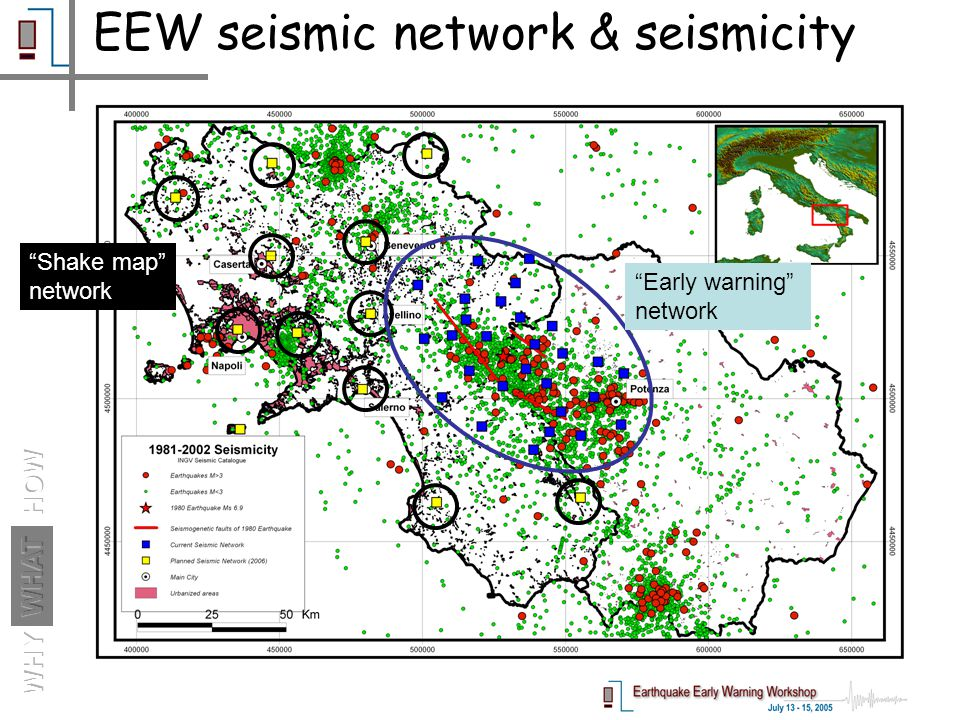 EEW seismic network & seismicity Shake map network Early warning network