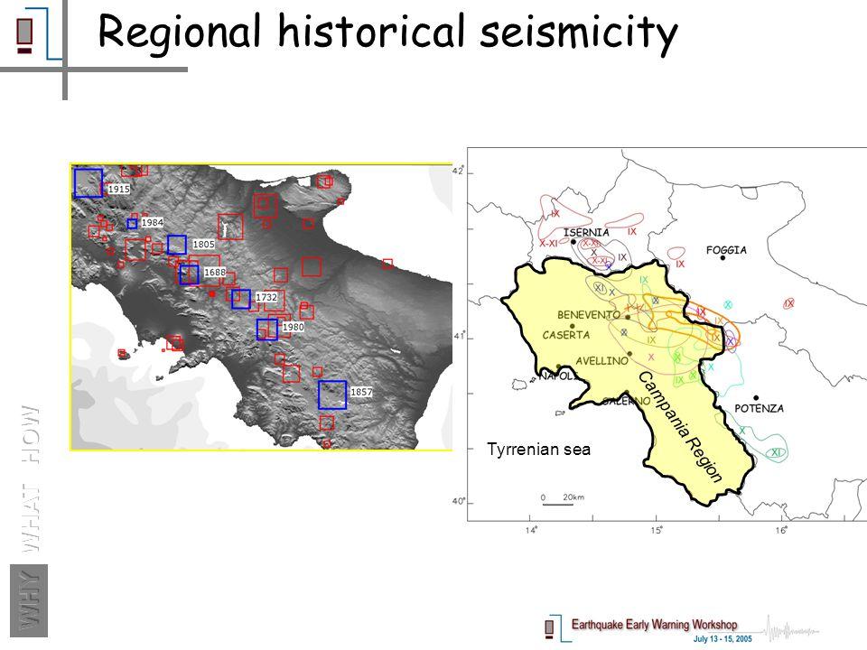 Regional historical seismicity Tyrrenian sea Campania Region