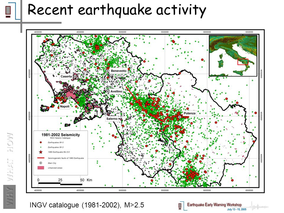 Recent earthquake activity INGV catalogue (1981-2002), M>2.5