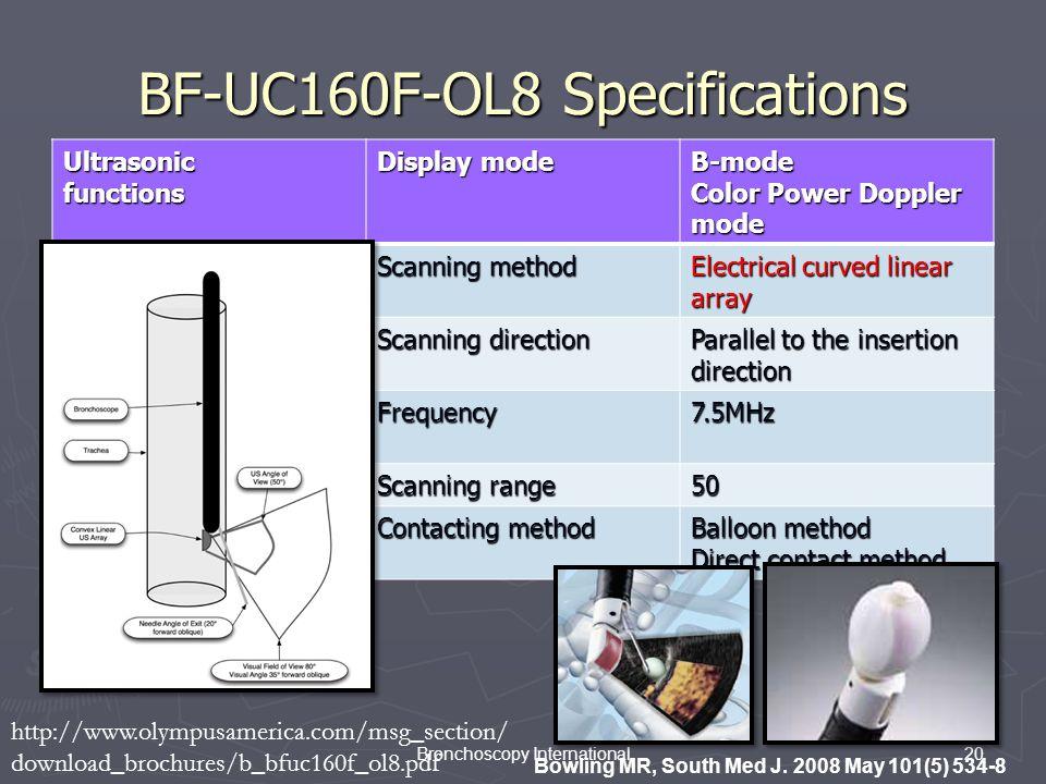 20Bronchoscopy International BF-UC160F-OL8 Specifications Ultrasonicfunctions Display mode B-mode Color Power Doppler mode Scanning method Electrical