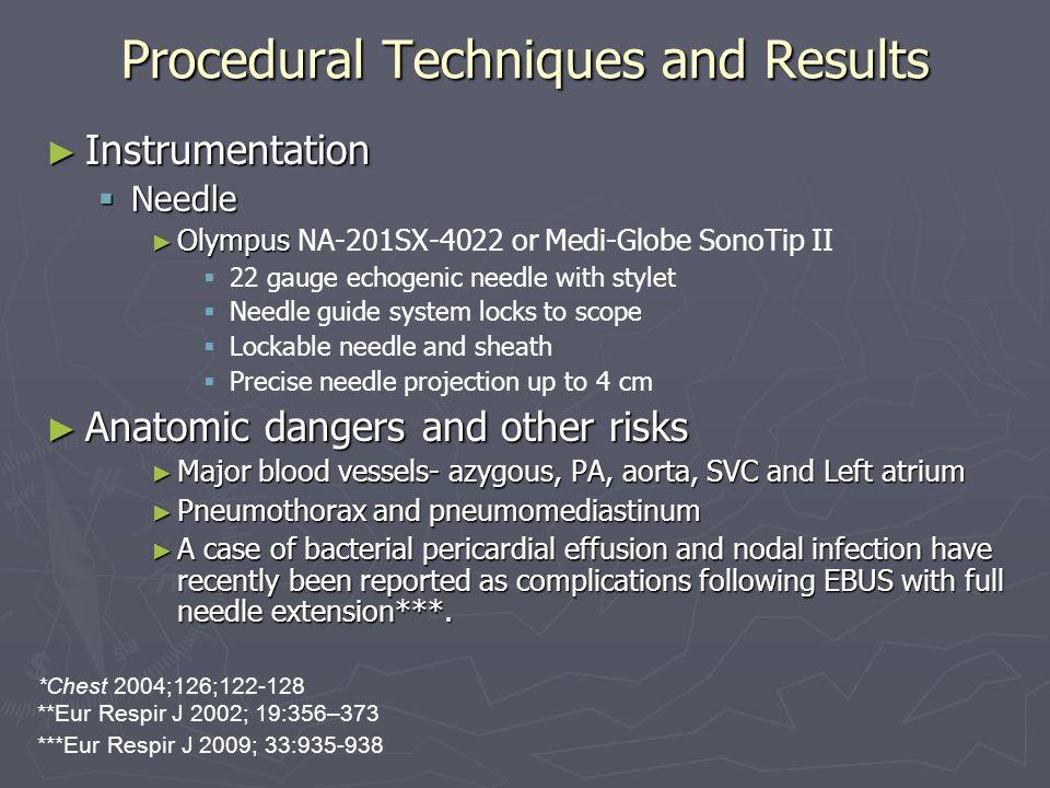 Procedural Techniques and Results ► Instrumentation  Needle ► Olympus ► Olympus NA-201SX-4022 or Medi-Globe SonoTip II   22 gauge echogenic needle