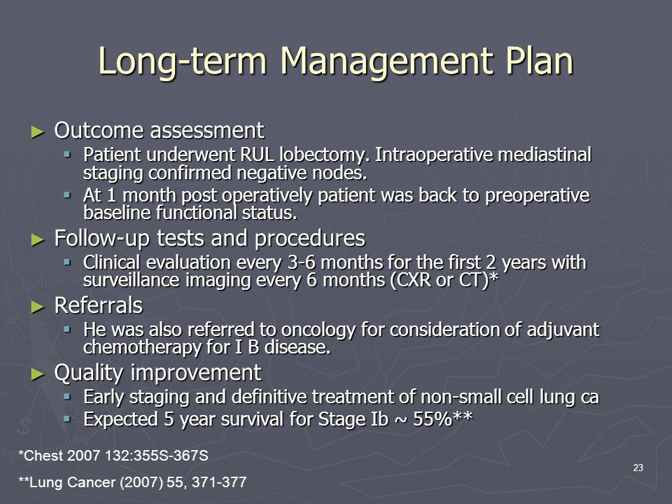 23 Long-term Management Plan ► Outcome assessment  Patient underwent RUL lobectomy.