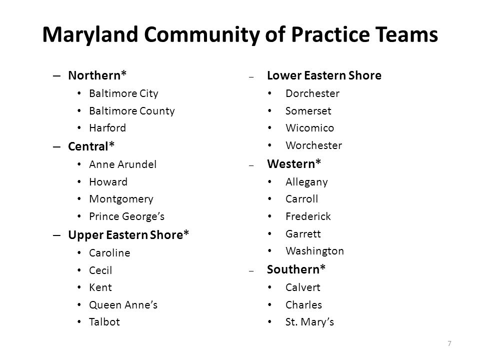 Maryland Community of Practice Teams – Northern* Baltimore City Baltimore County Harford – Central* Anne Arundel Howard Montgomery Prince George's – U
