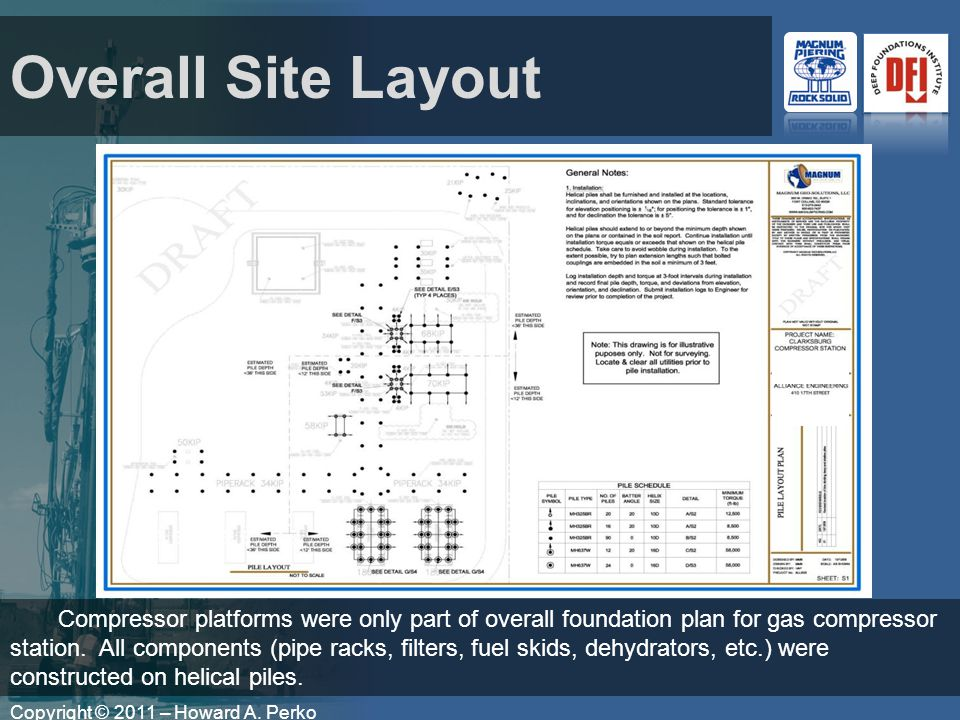 Copyright © 2011 – Howard A. Perko Overall Site Layout Compressor platforms were only part of overall foundation plan for gas compressor station. All