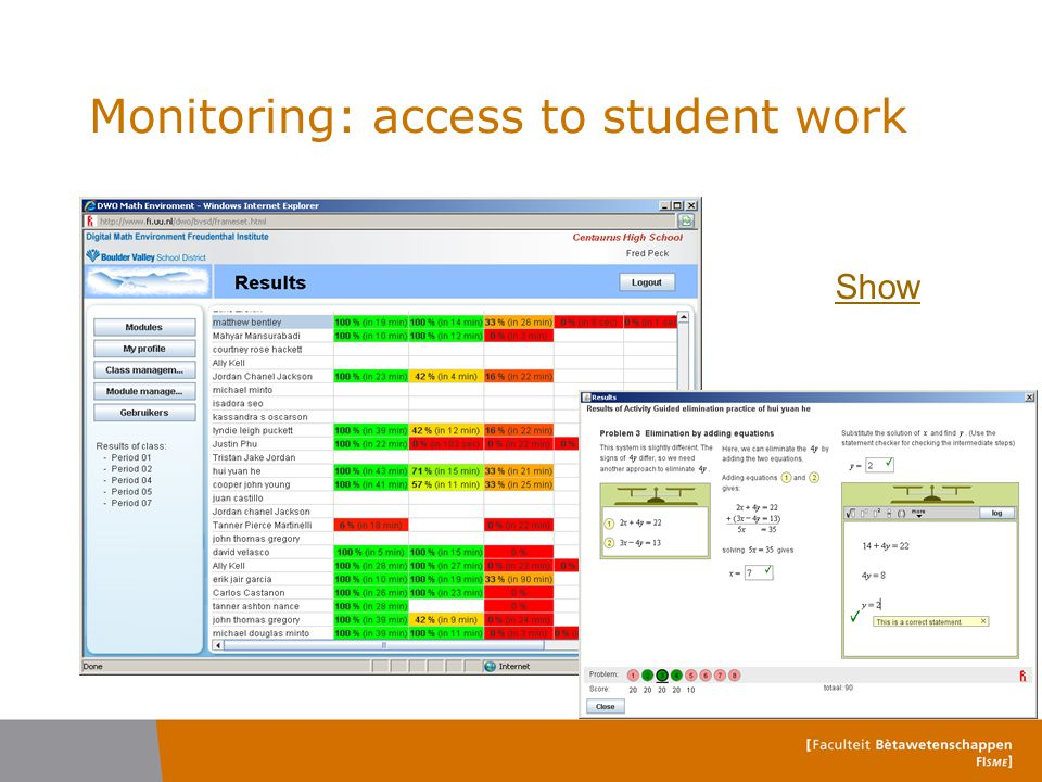 Monitoring: access to student work Show