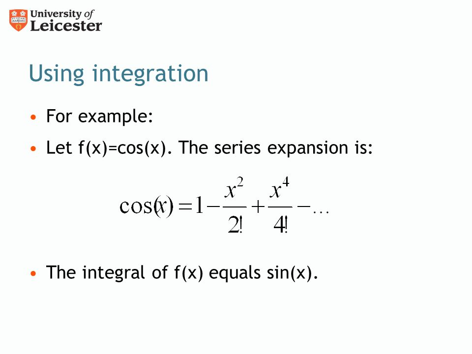 Using integration For example: Let f(x)=cos(x).