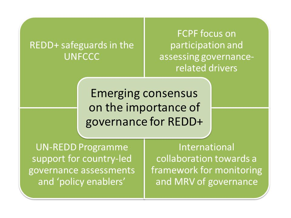 REDD+ safeguards in the UNFCCC FCPF focus on participation and assessing governance- related drivers UN-REDD Programme support for country-led governance assessments and 'policy enablers' International collaboration towards a framework for monitoring and MRV of governance Emerging consensus on the importance of governance for REDD+