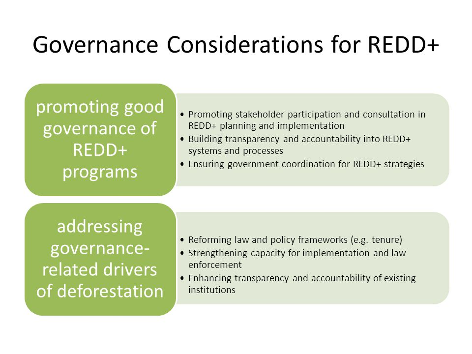 Governance Considerations for REDD+ Promoting stakeholder participation and consultation in REDD+ planning and implementation Building transparency and accountability into REDD+ systems and processes Ensuring government coordination for REDD+ strategies promoting good governance of REDD+ programs Reforming law and policy frameworks (e.g.