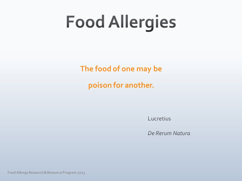 Food Allergy Research & Resource Program 2013