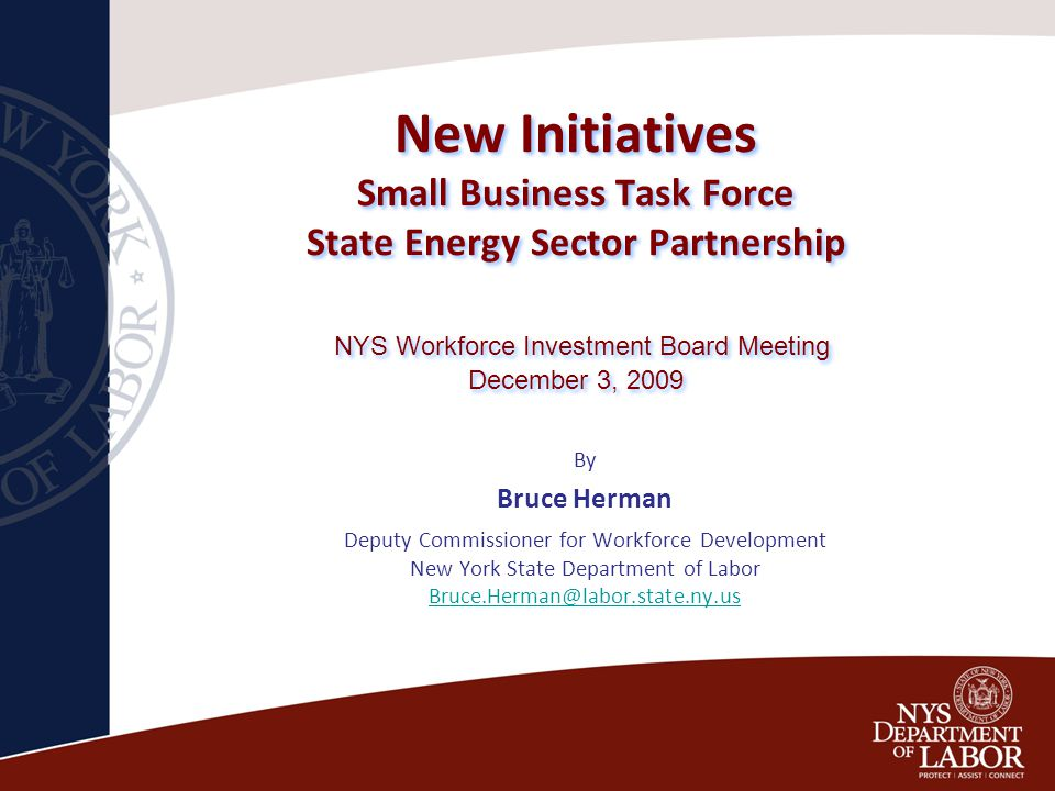 New Initiatives Small Business Task Force State Energy Sector Partnership NYS Workforce Investment Board Meeting December 3, 2009 By Bruce Herman Deputy Commissioner for Workforce Development New York State Department of Labor Bruce.Herman@labor.state.ny.us