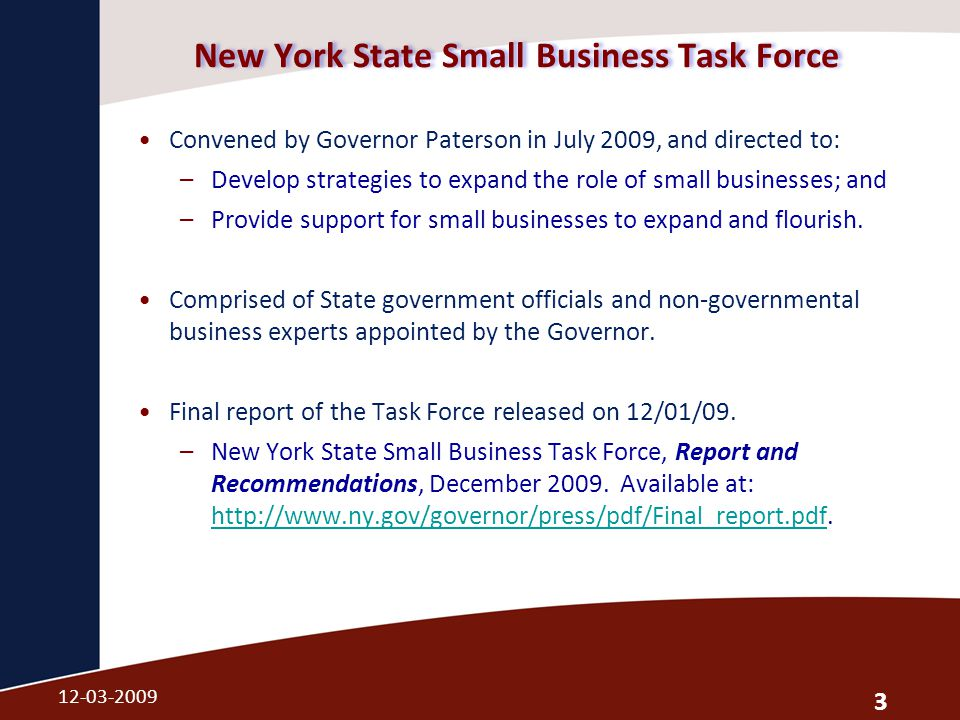 New York State Small Business Task Force Convened by Governor Paterson in July 2009, and directed to: –Develop strategies to expand the role of small businesses; and –Provide support for small businesses to expand and flourish.