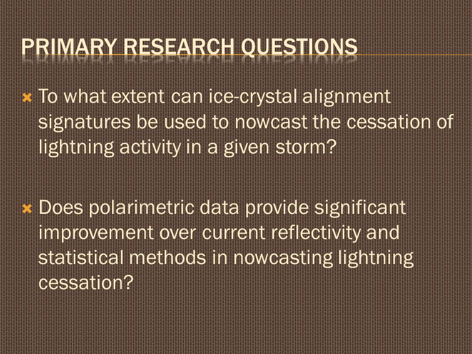  To what extent can ice-crystal alignment signatures be used to nowcast the cessation of lightning activity in a given storm?  Does polarimetric dat