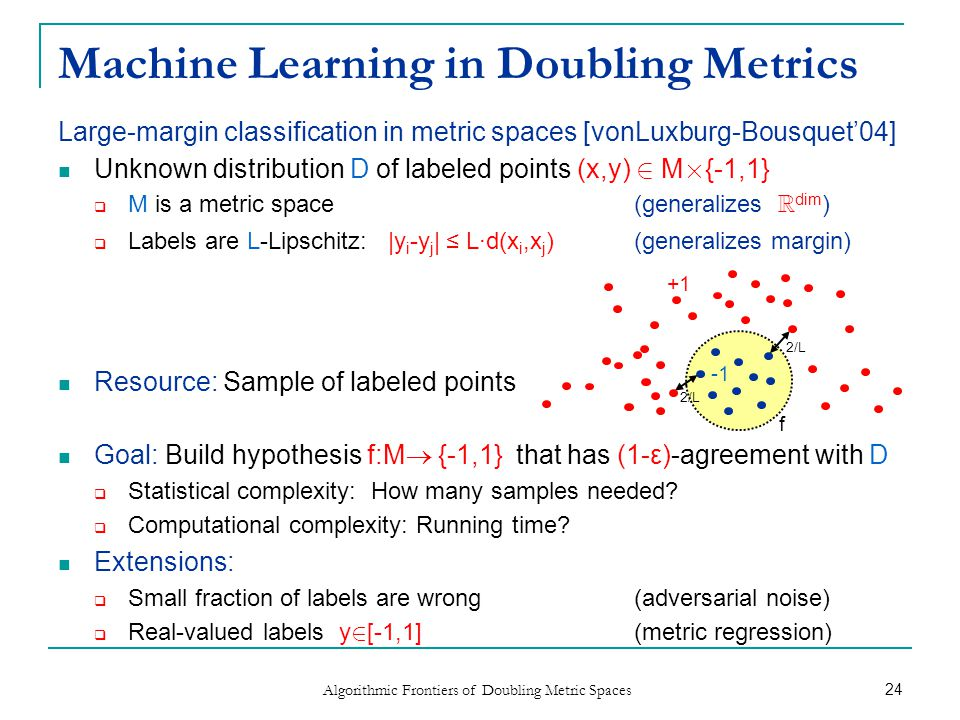 Large-margin classification in metric spaces [vonLuxburg-Bousquet'04] Unknown distribution D of labeled points (x,y) 2 M £ {-1,1}  M is a metric space (generalizes R dim )  Labels are L-Lipschitz: |y i -y j | ≤ L∙d(x i,x j ) (generalizes margin) Resource: Sample of labeled points Goal: Build hypothesis f:M  {-1,1} that has (1-ε)-agreement with D  Statistical complexity: How many samples needed.
