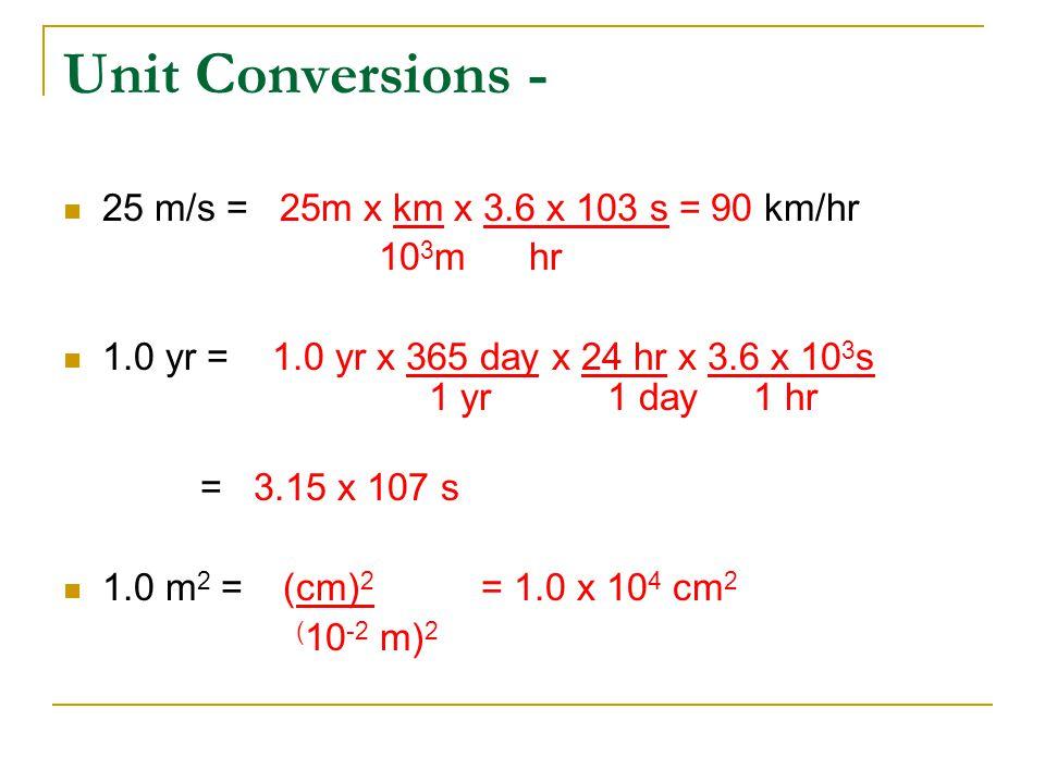 Unit Conversions - 25 m/s = 25m x km x 3.6 x 103 s = 90 km/hr 10 3 m hr 1.0 yr =1.0 yr x 365 day x 24 hr x 3.6 x 10 3 s 1 yr 1 day 1 hr = 3.15 x 107 s