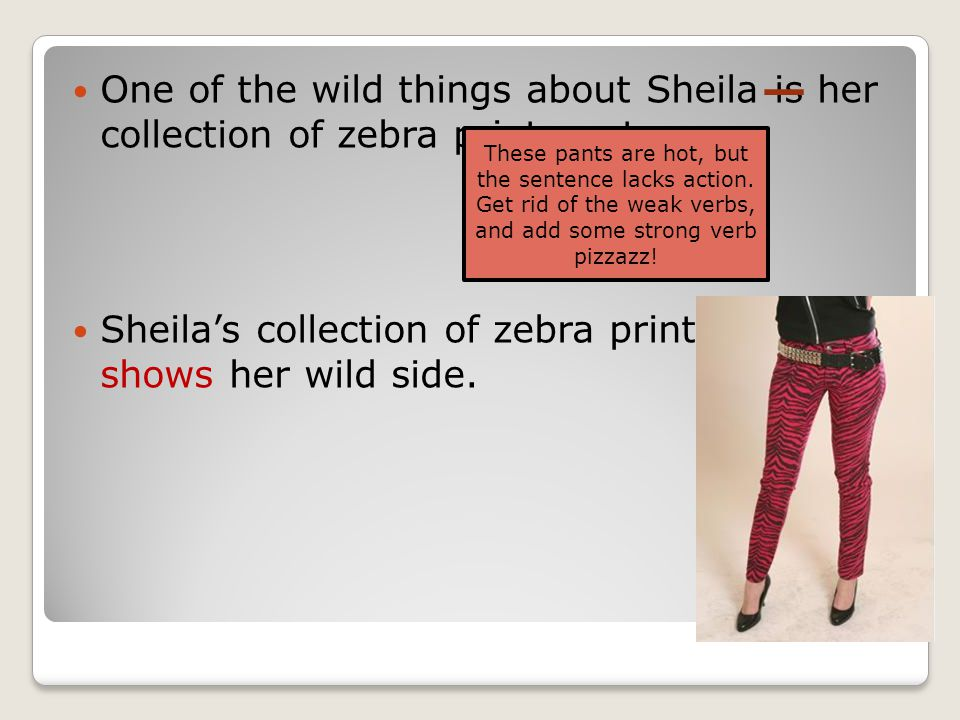 One of the wild things about Sheila is her collection of zebra print pants. Sheila's collection of zebra print pants shows her wild side. These pants