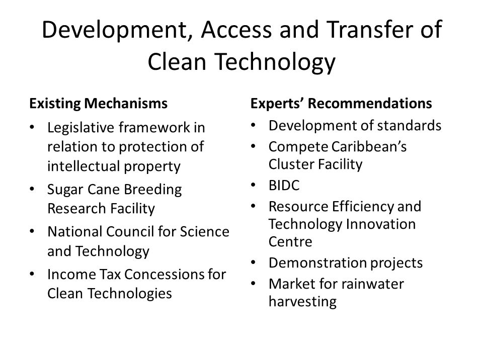 Existing Mechanisms Legislative framework in relation to protection of intellectual property Sugar Cane Breeding Research Facility National Council for Science and Technology Income Tax Concessions for Clean Technologies Experts' Recommendations Development of standards Compete Caribbean's Cluster Facility BIDC Resource Efficiency and Technology Innovation Centre Demonstration projects Market for rainwater harvesting
