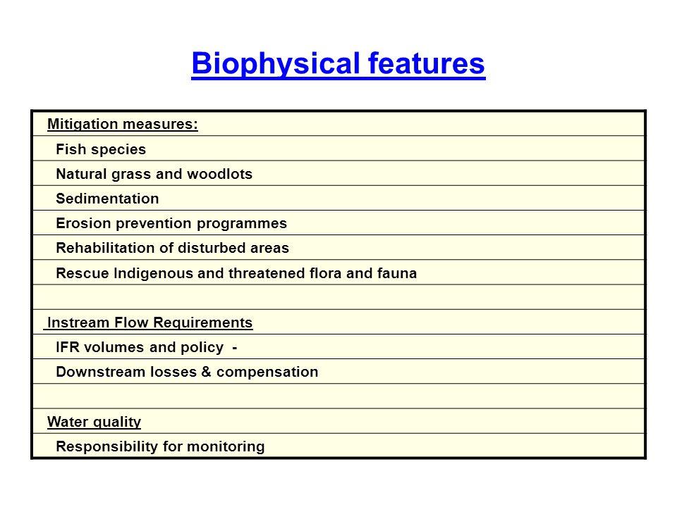 Biophysical features Mitigation measures: Fish species Natural grass and woodlots Sedimentation Erosion prevention programmes Rehabilitation of distur