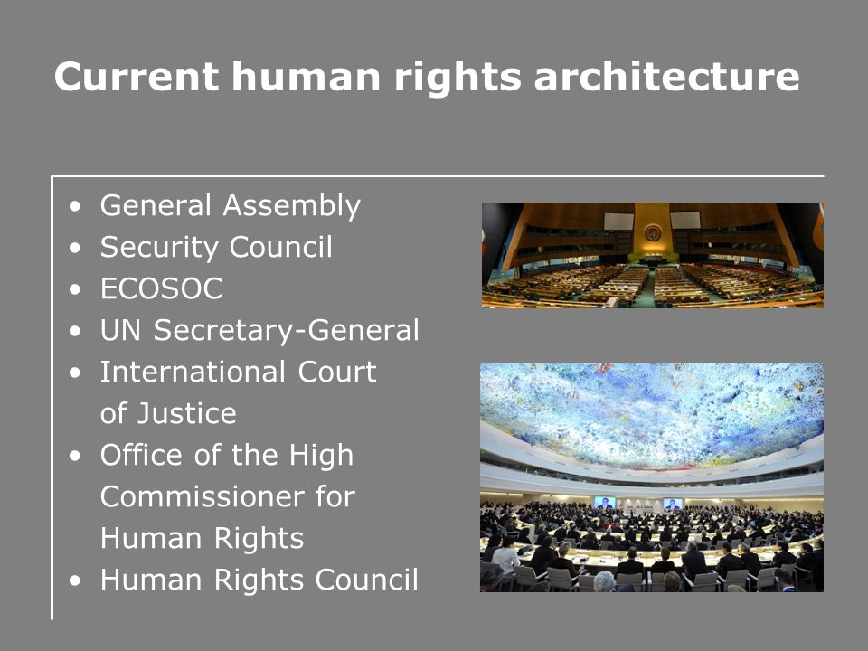 Current human rights architecture General Assembly Security Council ECOSOC UN Secretary-General International Court of Justice Office of the High Comm