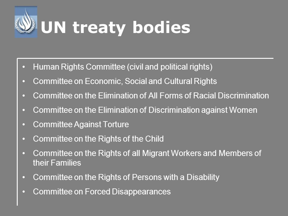Human Rights Committee (civil and political rights) Committee on Economic, Social and Cultural Rights Committee on the Elimination of All Forms of Racial Discrimination Committee on the Elimination of Discrimination against Women Committee Against Torture Committee on the Rights of the Child Committee on the Rights of all Migrant Workers and Members of their Families Committee on the Rights of Persons with a Disability Committee on Forced Disappearances UN treaty bodies