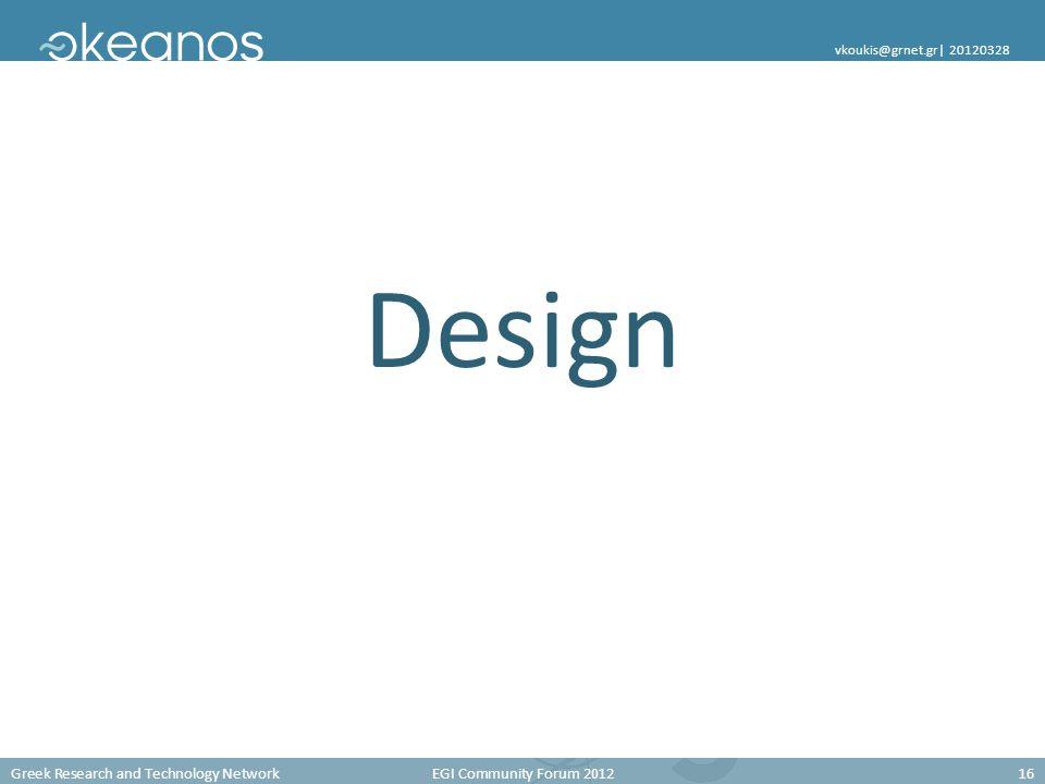 Greek Research and Technology Network EGI Community Forum 201216 vkoukis@grnet.gr  20120328 Design