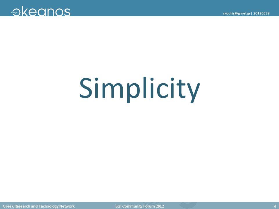 Greek Research and Technology Network EGI Community Forum 20124 vkoukis@grnet.gr  20120328 Simplicity