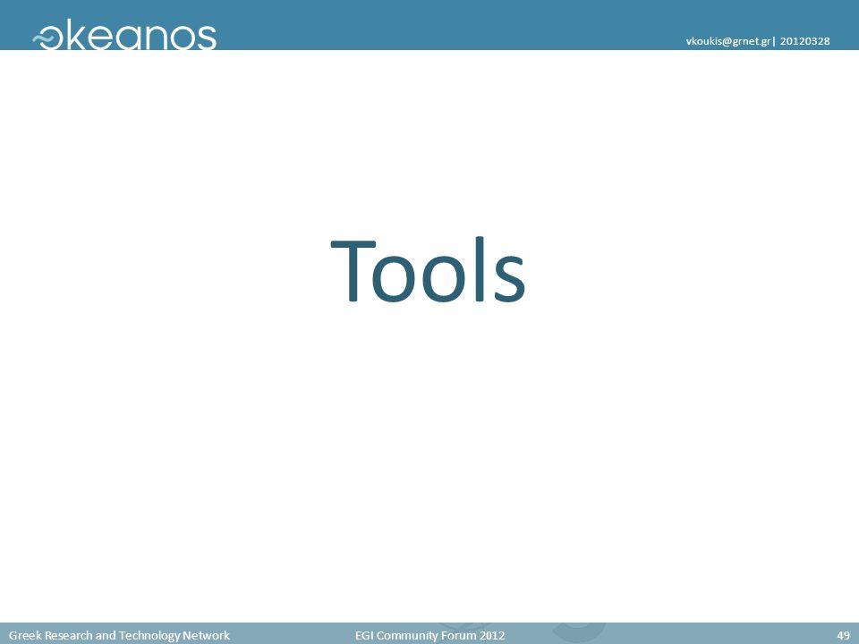 Greek Research and Technology Network EGI Community Forum 201249 vkoukis@grnet.gr  20120328 Tools