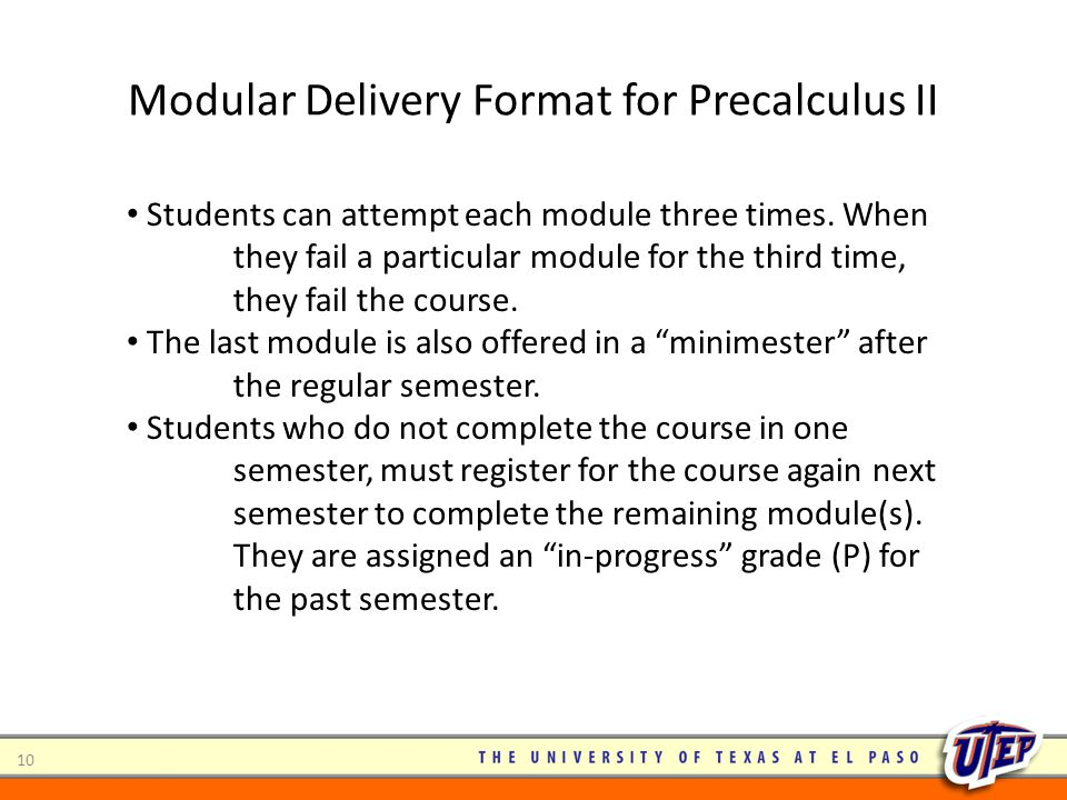 Modular Delivery Format for Precalculus II 10 Students can attempt each module three times. When they fail a particular module for the third time, the