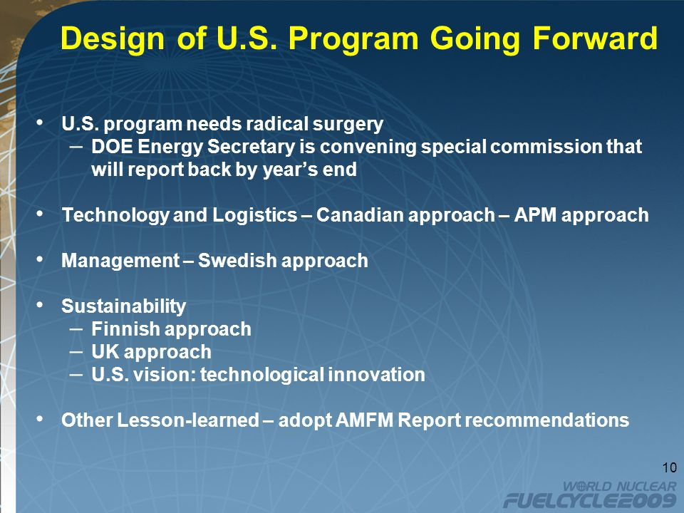 Design of U.S. Program Going Forward U.S.