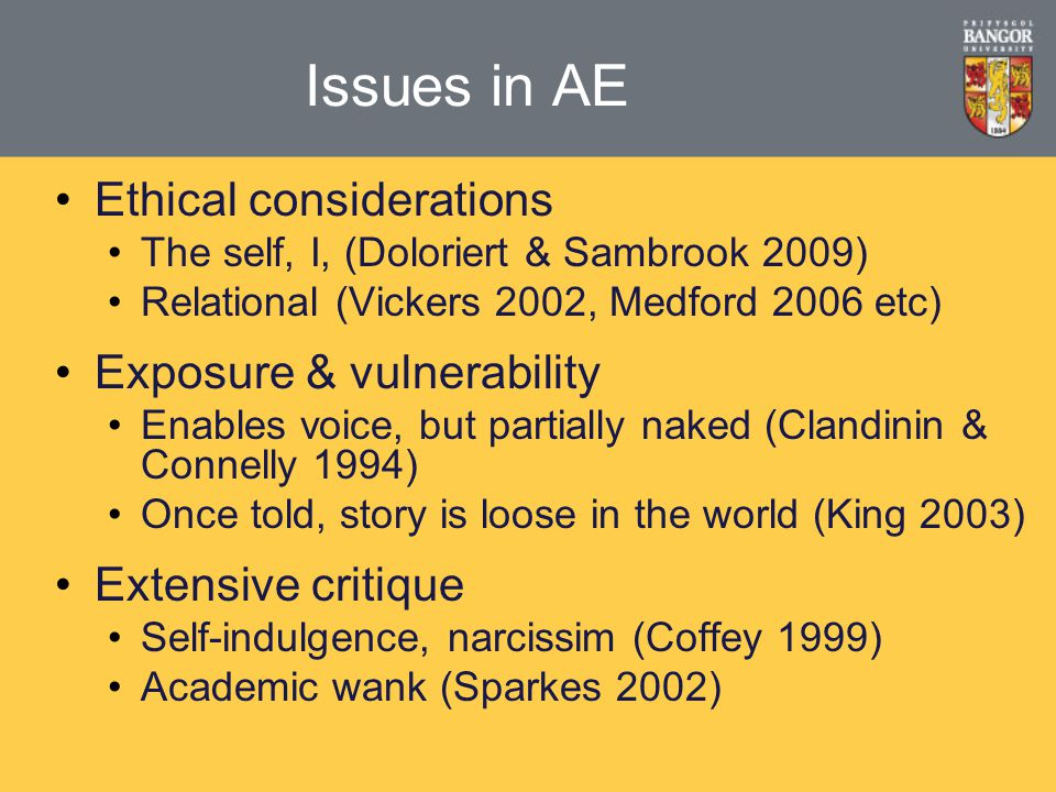 Issues in AE Ethical considerations The self, I, (Doloriert & Sambrook 2009) Relational (Vickers 2002, Medford 2006 etc) Exposure & vulnerability Enables voice, but partially naked (Clandinin & Connelly 1994) Once told, story is loose in the world (King 2003) Extensive critique Self-indulgence, narcissim (Coffey 1999) Academic wank (Sparkes 2002)