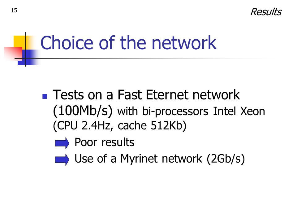 15 Choice of the network Tests on a Fast Eternet network (100Mb/s) with bi-processors Intel Xeon (CPU 2.4Hz, cache 512Kb) Poor results Use of a Myrinet network (2Gb/s) Results