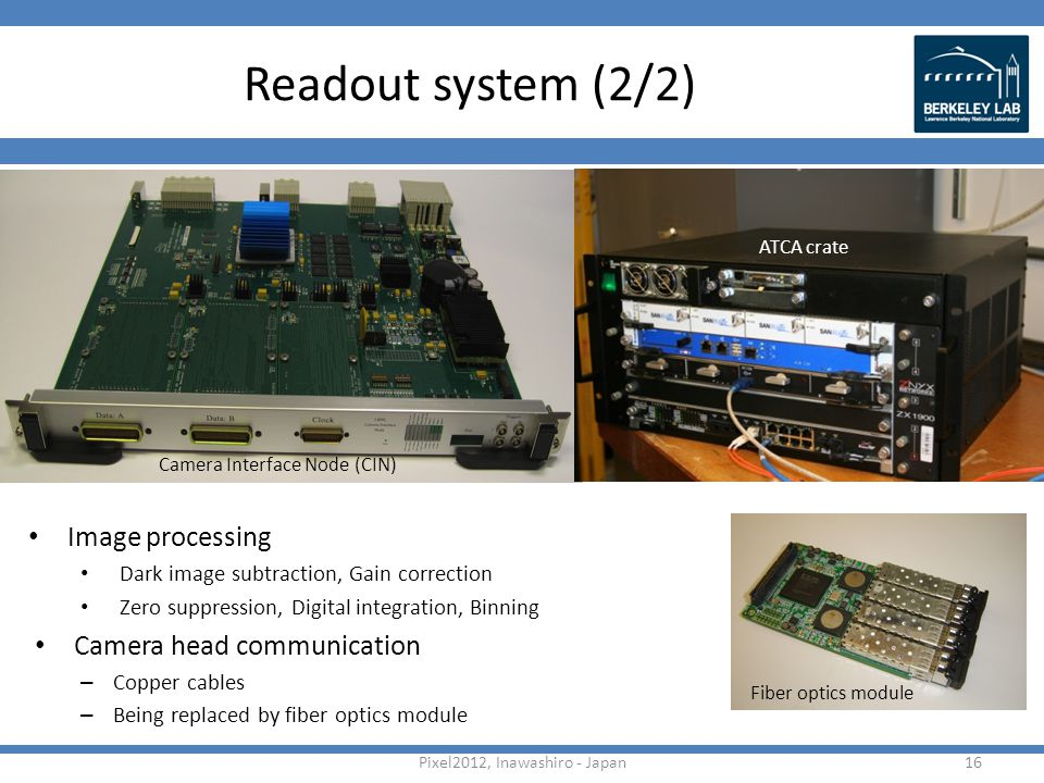 Readout system (2/2) 16Pixel2012, Inawashiro - Japan Image processing Dark image subtraction, Gain correction Zero suppression, Digital integration, Binning Camera head communication – Copper cables – Being replaced by fiber optics module Fiber optics module Camera Interface Node (CIN) ATCA crate