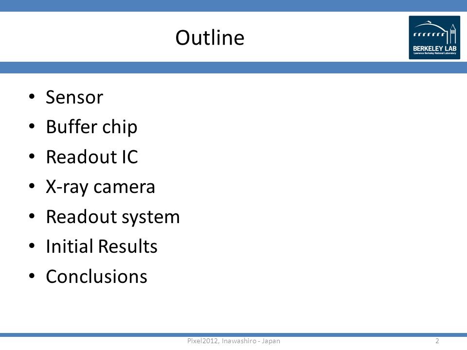 Outline Sensor Buffer chip Readout IC X-ray camera Readout system Initial Results Conclusions 2Pixel2012, Inawashiro - Japan