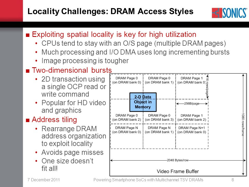 7 December 2011Powering Smartphone SoCs with Multichannel TSV DRAMs8 Locality Challenges: DRAM Access Styles ■Exploiting spatial locality is key for h