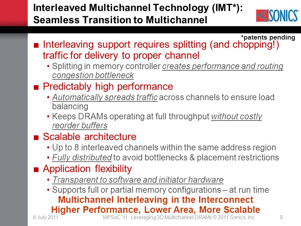 6 July 2011MPSoC '11: Leveraging 3D Multichannel DRAMs © 2011 Sonics, Inc.9 Interleaved Multichannel Technology (IMT*): Seamless Transition to Multich