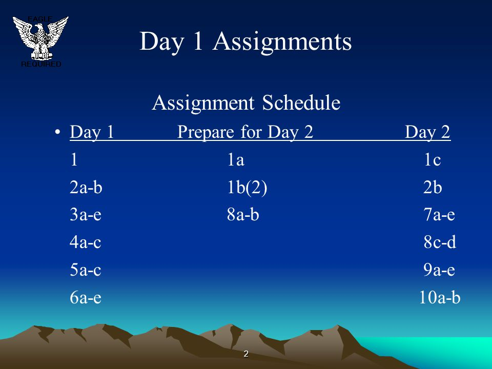 2 Day 1 Assignments Assignment Schedule Day 1Prepare for Day 2 Day 2 11a1c 2a-b1b(2)2b 3a-e8a-b7a-e 4a-c8c-d 5a-c9a-e 6a-e 10a-b