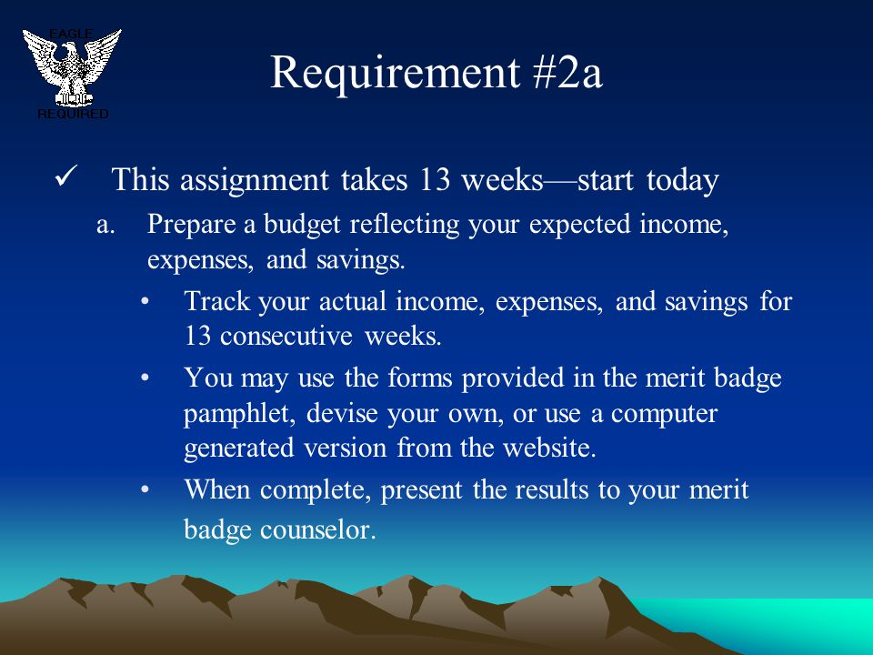 Requirement #2a This assignment takes 13 weeks—start today a.Prepare a budget reflecting your expected income, expenses, and savings. Track your actua