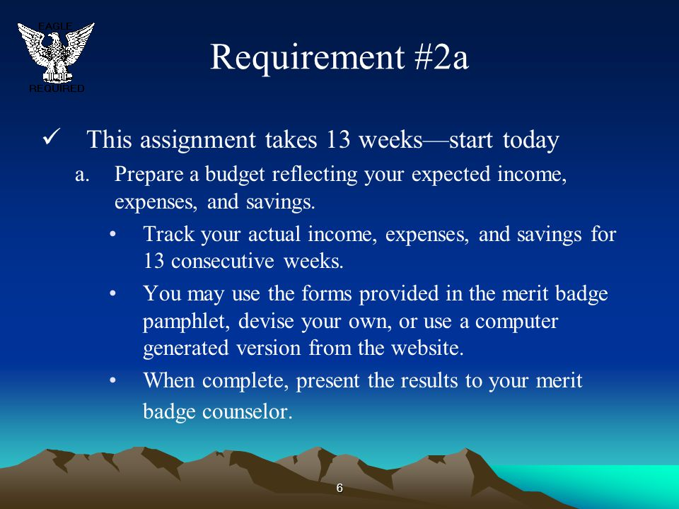 6 Requirement #2a This assignment takes 13 weeks—start today a.Prepare a budget reflecting your expected income, expenses, and savings. Track your act
