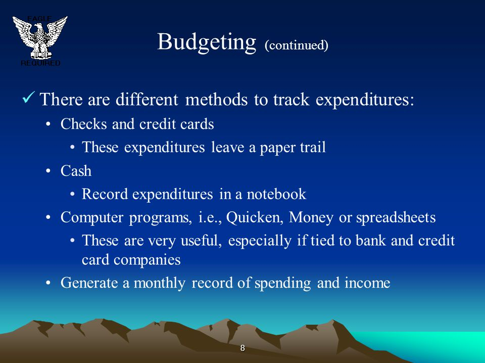 9 Budgeting (continued) What is in a budget.