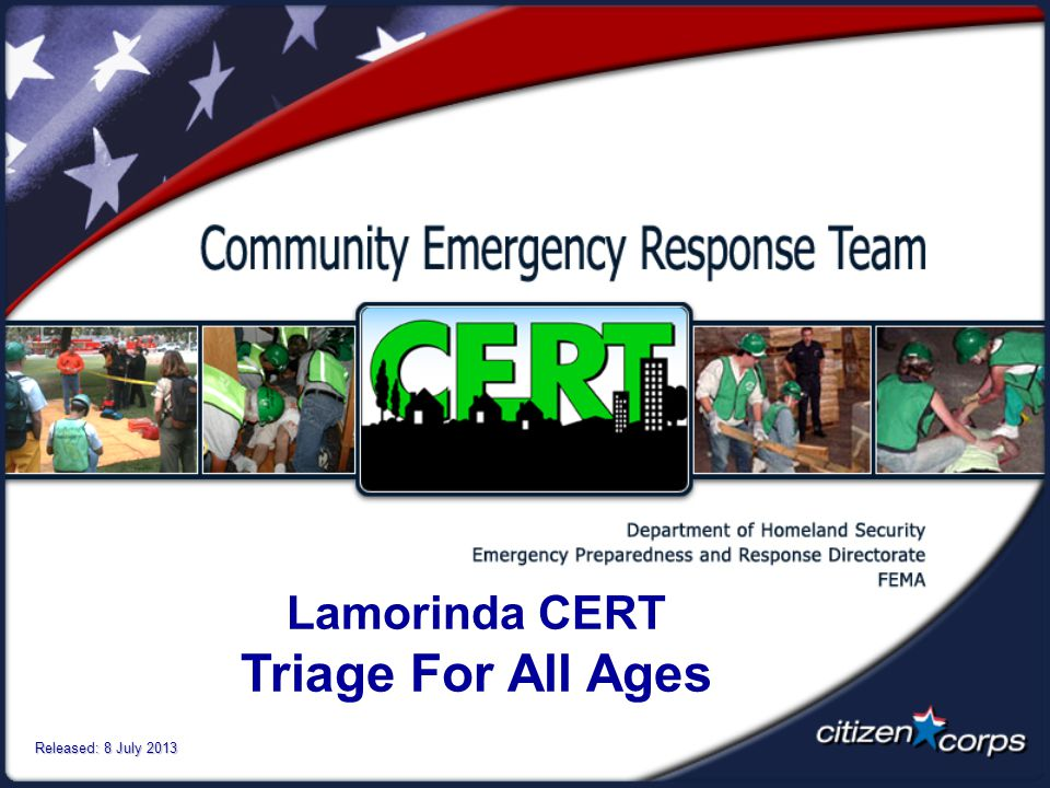 Lamorinda CERT Triage For All Ages Released: 8 July 2013