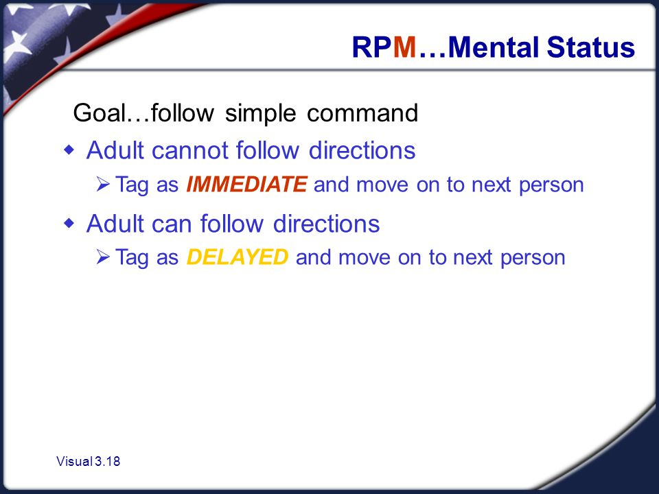 Visual 3.18  Adult cannot follow directions  Tag as IMMEDIATE and move on to next person  Adult can follow directions  Tag as DELAYED and move on to next person RPM…Mental Status Goal…follow simple command