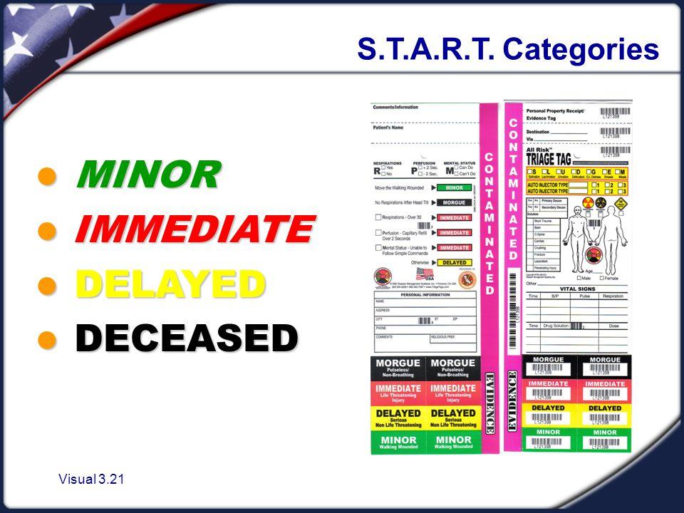 Visual 3.21 S.T.A.R.T. Categories MINOR MINOR IMMEDIATE IMMEDIATE DELAYED DELAYED DECEASED DECEASED