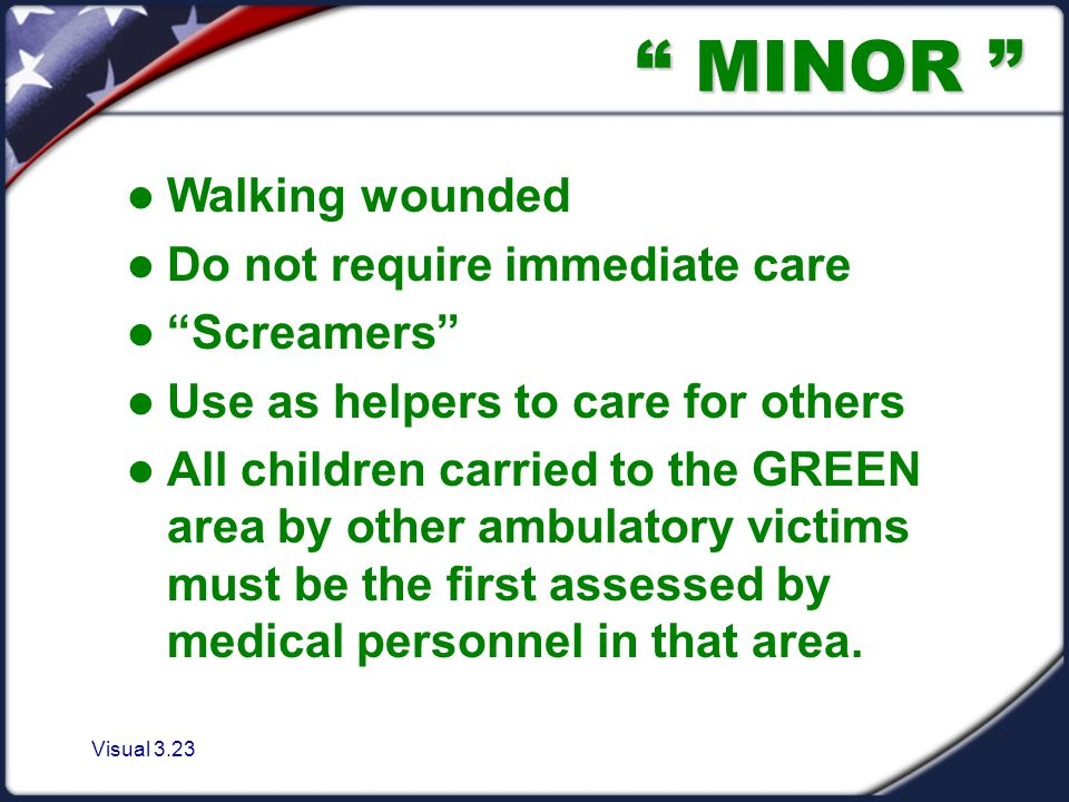 Visual 3.23 MINOR Walking wounded Do not require immediate care Screamers Use as helpers to care for others All children carried to the GREEN area by other ambulatory victims must be the first assessed by medical personnel in that area.