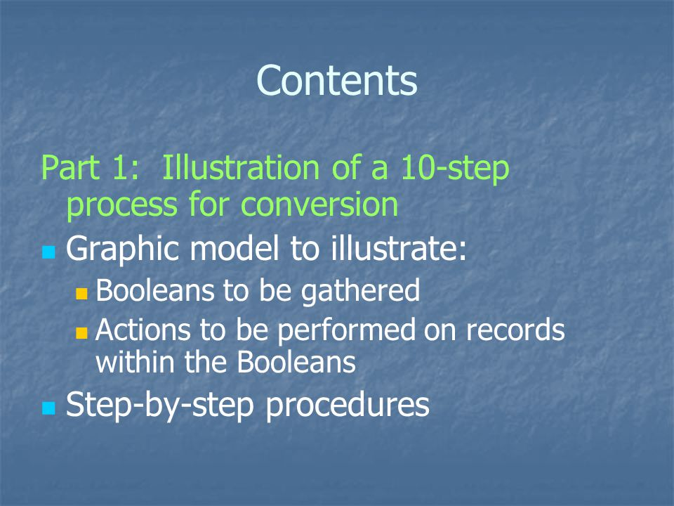 Step-by-step: Step 7 Non-OhioLINK collections, integrating resources, & serials Gather a subset of records from the results of the MASTER BOOLEAN: For set of records for integrating resources, and collections (that is, for all non-books that are not OhioLINK resources Potential Boolean strategy: type (b); field (bcode3), condition (≠), value (g) AND type (b); field (bib lvl), condition (=), value (i) OR type (b); field (bib lvl), condition (=), value (s) OR type (b); field (bib lvl), condition (=), value (c) SAVE Results