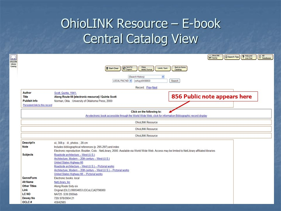 OhioLINK Resource – E-book Central Catalog View 856 Public note appears here